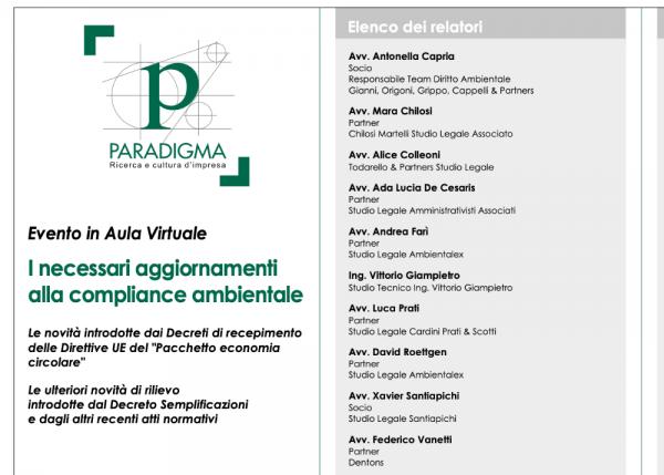 """L'Avv. Xavier Santiapichi relatore al workshop in aula virtuale """"I necessari aggiornamenti alla compliance ambientale"""""""